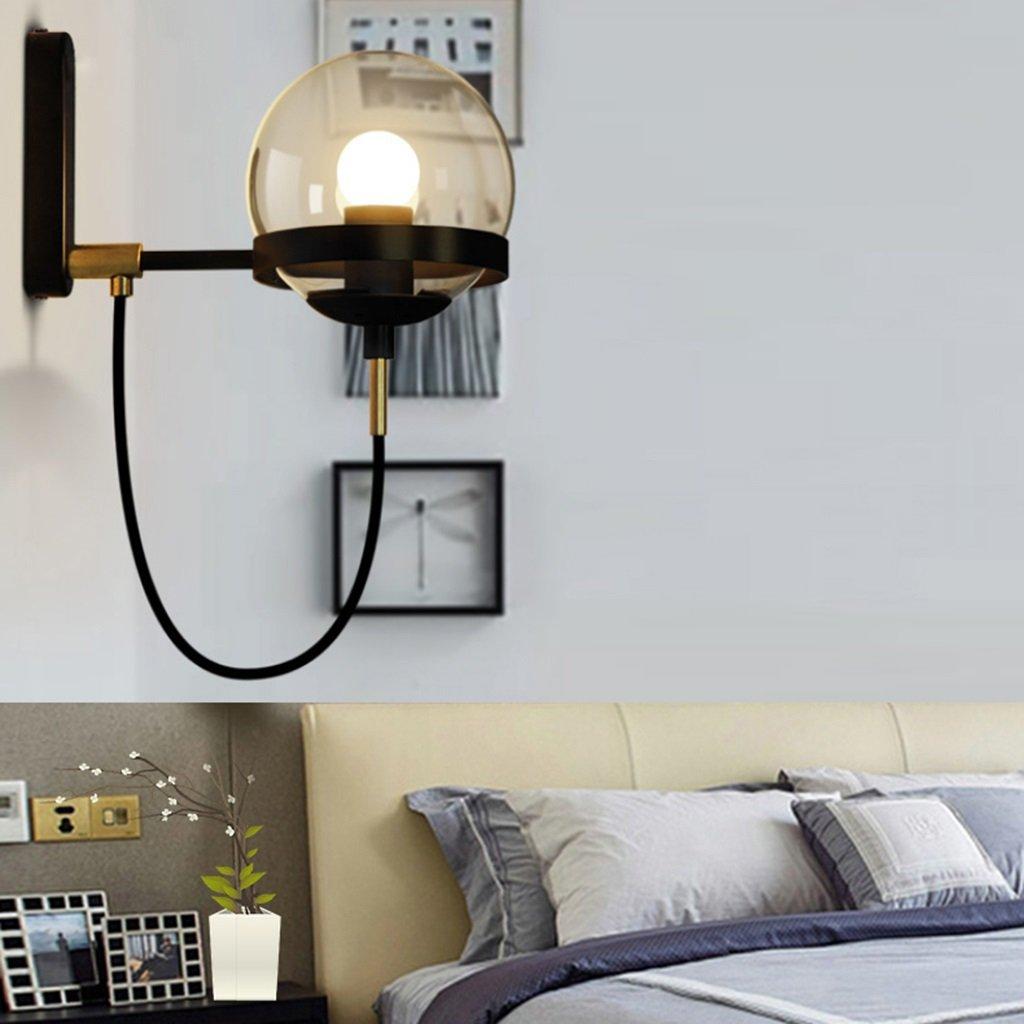 Brilliant firm Lampade da parete lampada da parete Diffusore in vetro Corpo lampada in ferro Corridoio da camera da letto semplice soggiorno A++ (Colore   nero)
