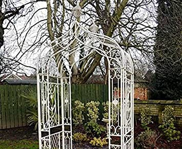 Cream Decorated Metal Arch   For Garden, Patio, Ceremonies And Events