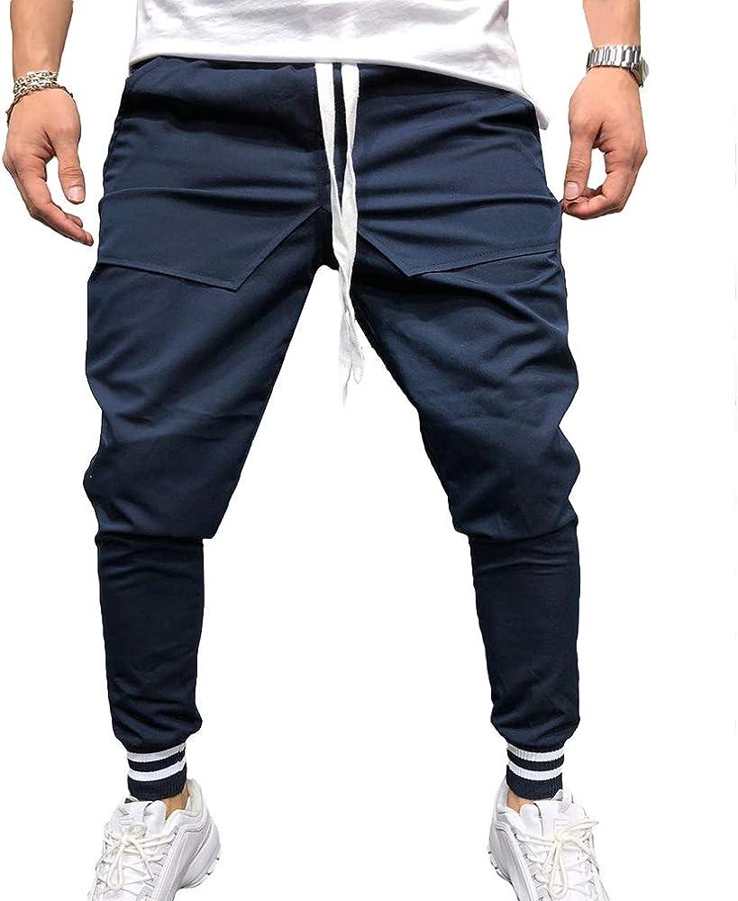 kunfang Pantalones Casual de Hombre Slim Fit Tobillo Pantalones De ...