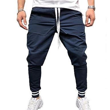 Pantalones de Chándal de Hombres Color Sólido Slim Fit Cintura ...