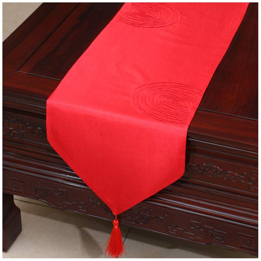 Gong Elegant Table Runner Tassel Decor Chinese Classical Embroidery Table Tablecloth for Dinner Wedding Event Party Christmas Birthday Marriage Banquet Color : Light blue, Size : 33 * 150cm