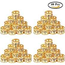 Fani 40 Pieces Dread Locks Braiding Beads with Crystal Golden Color Metal Cuffs Hair Accessories Decoration (Hole 13mm)