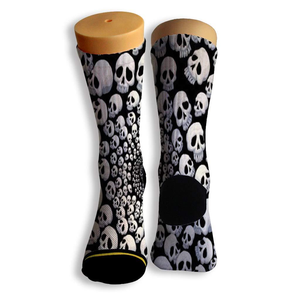 Basketball Soccer Baseball Socks by Potooy Funny Skull Patterned 3D Print Cushion Athletic Crew Socks for Men Women