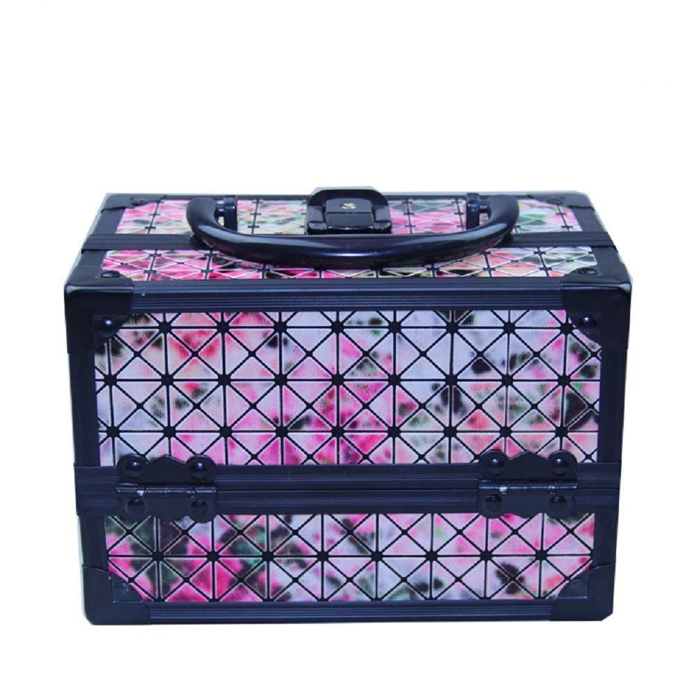 化粧オーガナイザーバッグ 美容メイクアップと女の子の女性のための光沢のあるポータブル化粧ケースケースとロックとトレイ付きの毎日の保管 化粧品ケース B07Q7FKNYB
