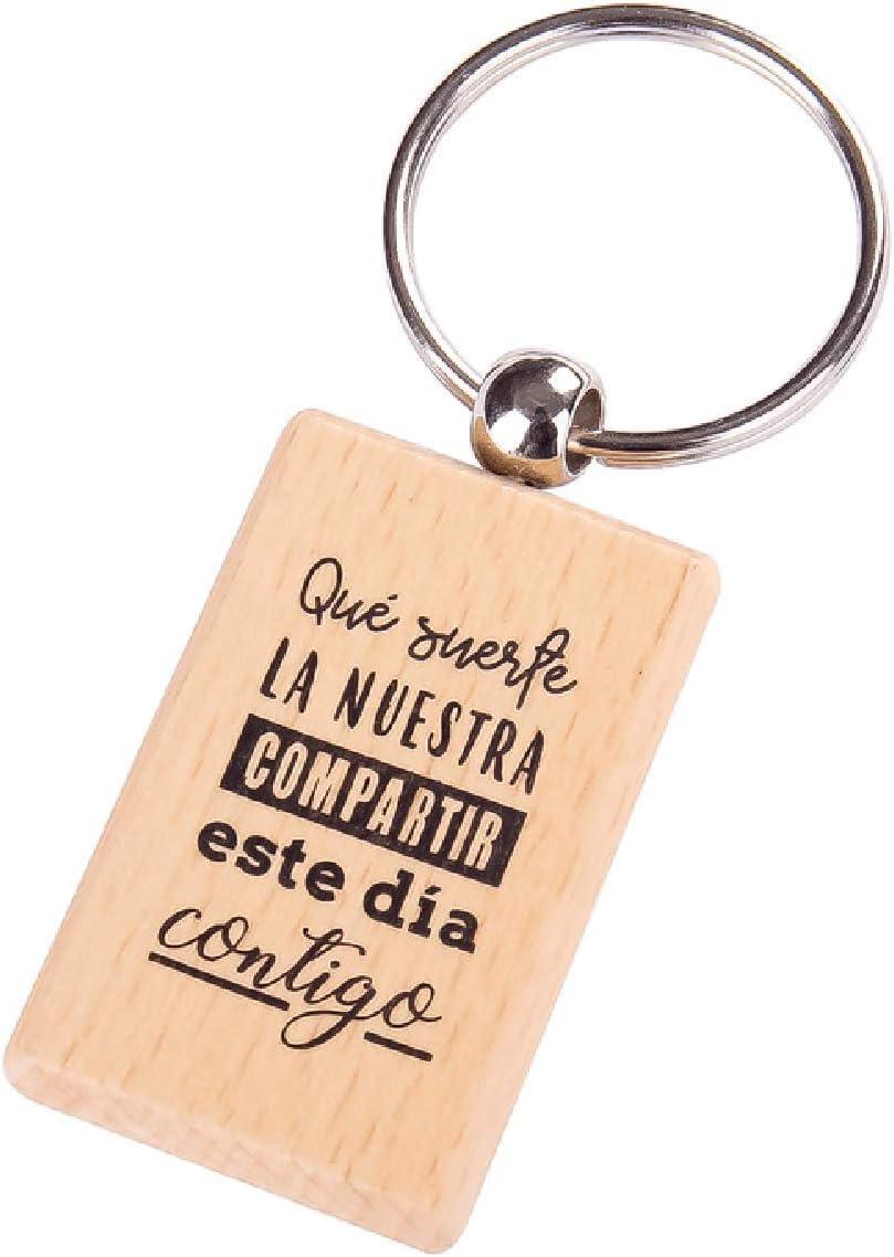 Lote de 24 Llavero de Madera con Frases Suerte La Nuestra - Llaveros de Madera para Las Bodas, los bautizos, comuniones y Eventos.