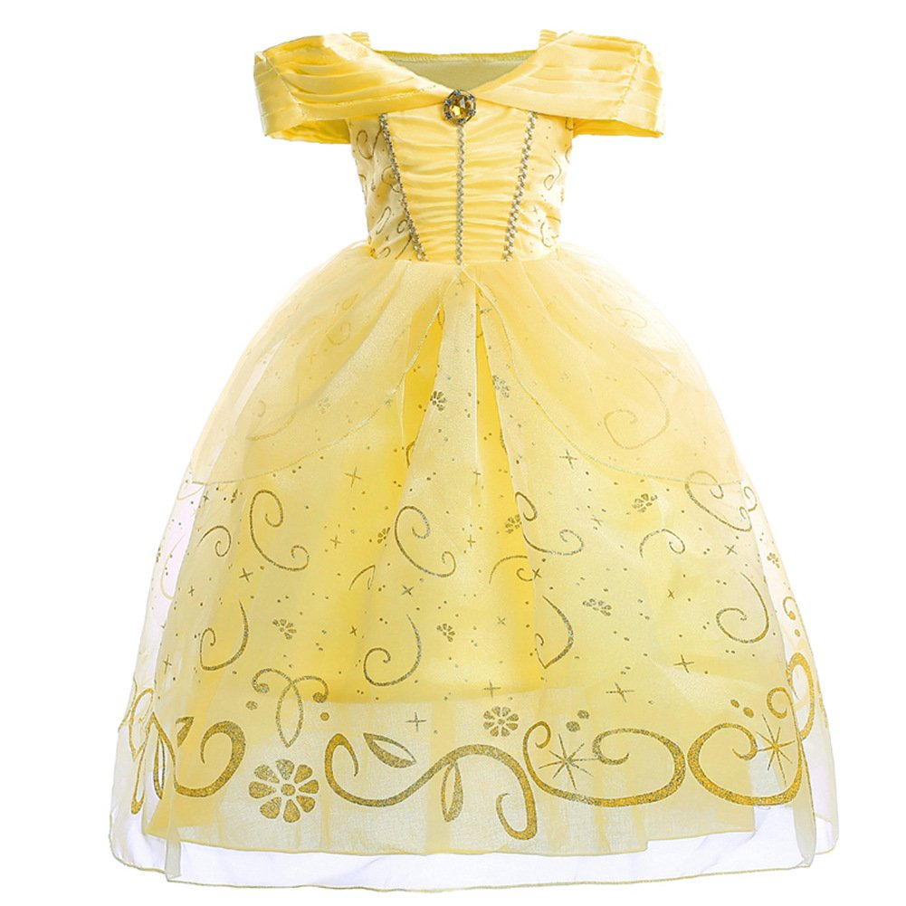 JiaDuo Little Girls Princess Belle Costume Party Layered Fancy Dress Up Off Shoulder 130