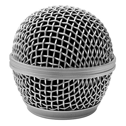 Seismic Audio SA-M30Grille-Silver Replacement Silver Steel Mesh Microphone Grill Head for Shure SM58, Shure SV100