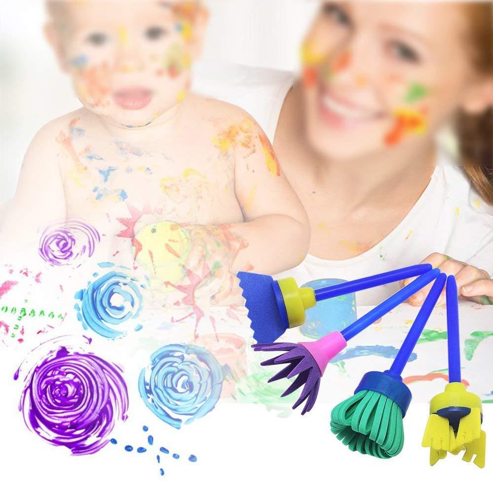 Meetory 12 Pcs Sponge Paint Brush,Multi-Shapes Stamp Flower Drawing Foam Tool