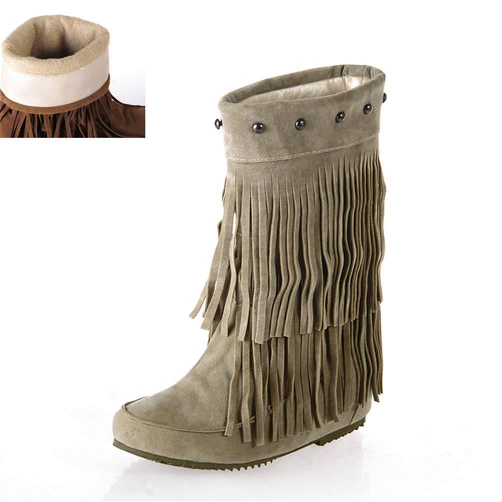 HhGold Damen Slip On Stiefel Bequeme Mitte der Wade mit Niet Winter Warme Schuhe für Fashioon Street Girls Outdoor (Farbe   Beige Größe   7.5 UK)
