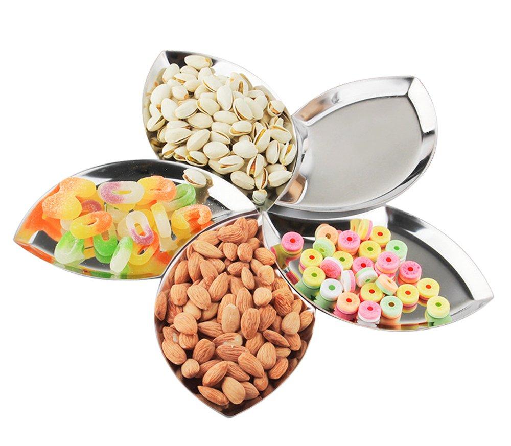 LIANYU Stainless Steel 5-Piece Snack Appetizer Trays Set, Dessert Serving Plates, Flower Petals Platter, Mirror Polish & Easy Clean, Dishwasher Safe