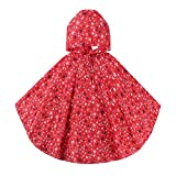 Spring Fever Girls Kids Toddler Hooded School Backpack Rain Ponchos Jacket Raincoats Red M (Fit 39.4'-51.2' Height)