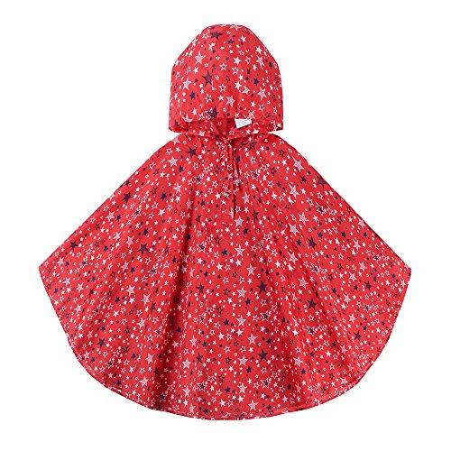 (Spring Fever Girls Kids Toddler Hooded School Backpack Rain Ponchos Jacket Raincoats Red M (Fit 39.4