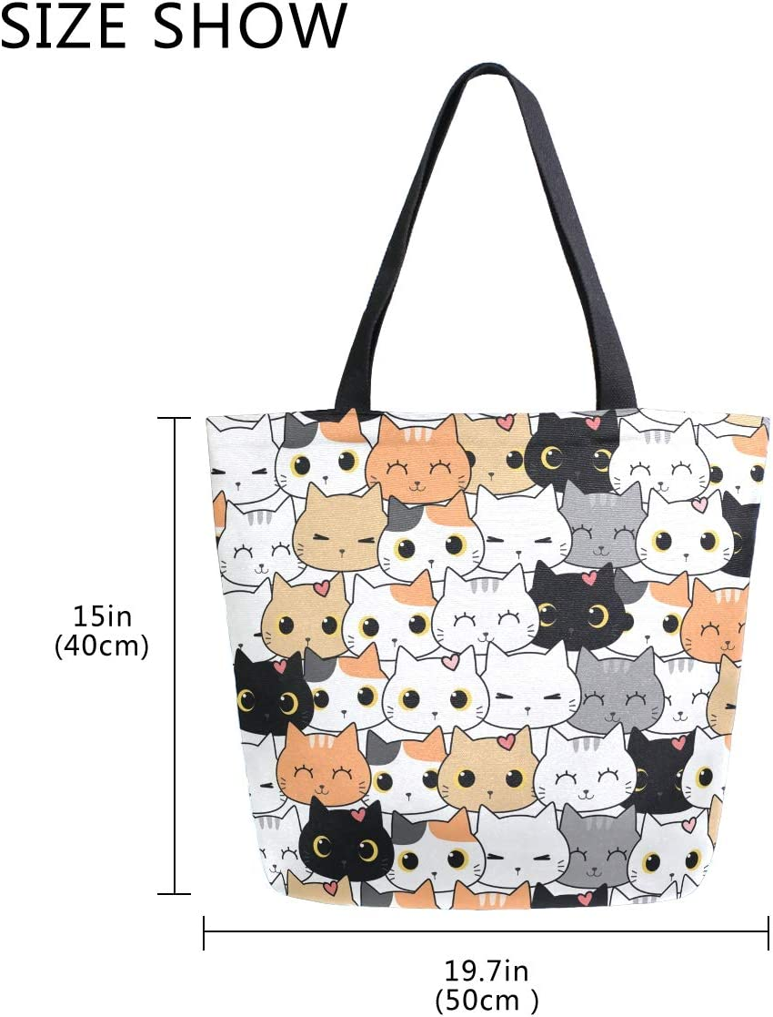 Womens Canvas Tote Cute Wild Small Kitte Cat Shoulder Bag Stylish Shopping Casual Bag Travel Bag