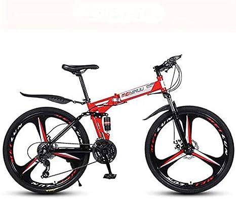 Y&XF Bicicleta De Montaña para Adultos,26 Pulgadas Bicicleta Plegable, Cuadro De Acero De Alto Carbono, Bicicletas MTB De Suspensión Completa, Freno De Doble Disco, Pedales De PVC,Rojo,24 Speed: Amazon.es: Deportes y aire