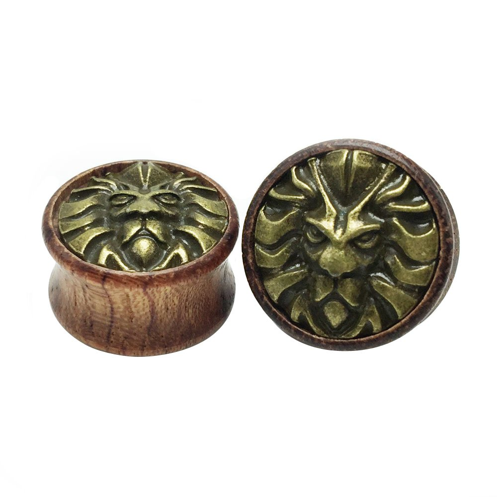 Oasis Plus Male Lion Organic Wood Tunnels Double Flared Ear Stretcher Saddle Plugs Gauge 8mm - 20mm Zack