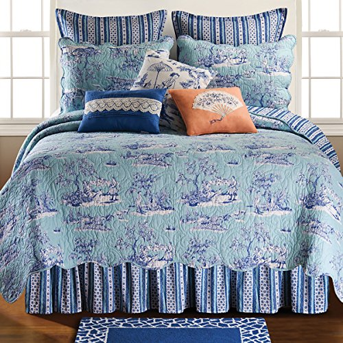 (C&F Home Hampstead Toile 3 Piece Quilt Set All-Season Reversible Bedspread Oversized Bedding Coverlet, King Size, Blue)