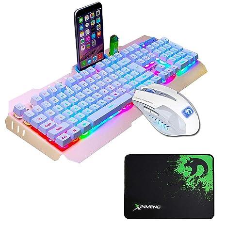 Juego De Teclado y Mouse UrChoiceLtd® Ajazz RGB Naranja LED Con Retroiluminación Ergonomic USB Gaming