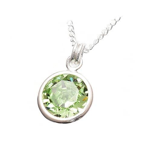 pewterhooter - Colgante y cadena de plata de ley 925, hechos a mano, con cristal peridoto verde brillante de Swarovski®, engaste de plata Caja de Londres: ...
