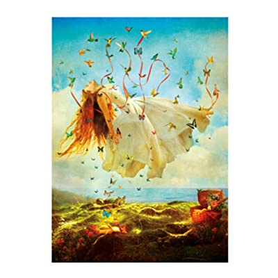 Jigsaw Puzzle 100 Pieces for Adults, Landscape Building Pattern Adult Children Puzzle Puzzle Intellective Educational Toy, Micro Jigsaw Puzzles, Butterfly Girl, 14.96 x 9.84 inches: Toys & Games