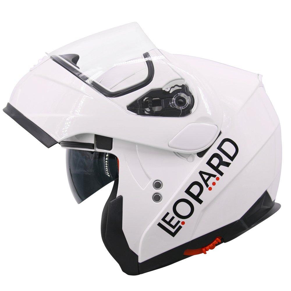 Amazon.es: Leopard LEO-838 Cascos Modulares de Moto Motocicleta ECE 22-05 Aprobado Doble Visera - Blanco M (57-58cm)