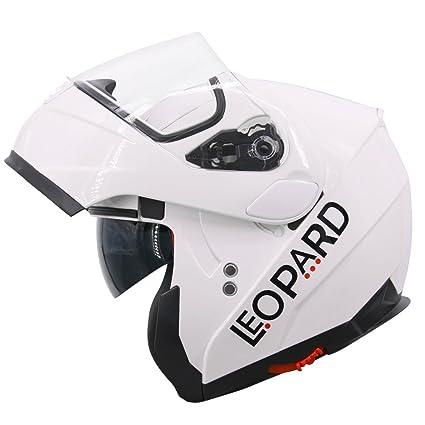 Leopard LEO-888 Double Visor Flip up Front Motorcycle Motorbike Helmet Road Legal Matt Black S 55-56cm