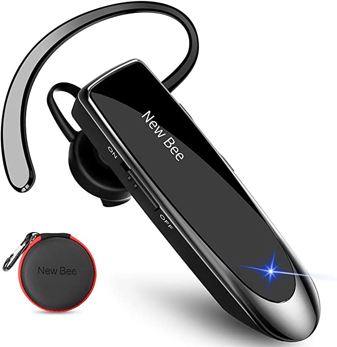 New bee Bluetooth Headset V5.0 Handsfree Bluetooth Earpiece with 24h talking time and More 60 Days Standby with Headset Case for iPhone, Android and