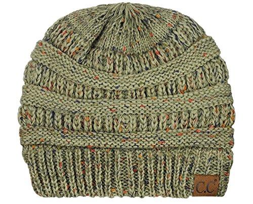 C.C Unisex Colorful Confetti Soft Stretch Cable Knit Beanie Skull Cap, Ombre Sage