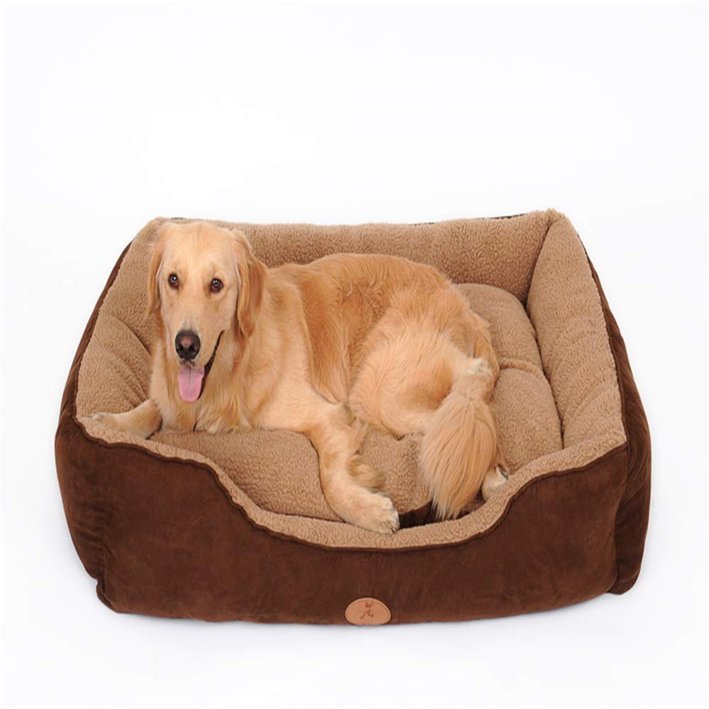 Brown M brown M DYEWD leather and dirt resistant large pet nest kennel,warm and breathable washable cat litter,wear resistant and dirty,brown,M