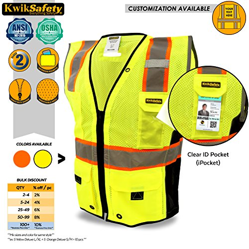 KwikSafety TOP DOG | Class 2 iPocket Safety Vest | 360° High Visibility Reflectivity ANSI Compliant Work Wear | Hi Vis 8 Pocket Breathable Mesh Men & Women Regular to - Sized Over