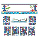 Amscan All Aboard Boy 1st Birthday Personalized Giant Sign Banner, 65'' x 20'', Blue/White