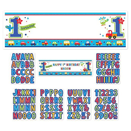 Amscan All Aboard Boy 1st Birthday Personalized Giant Sign B