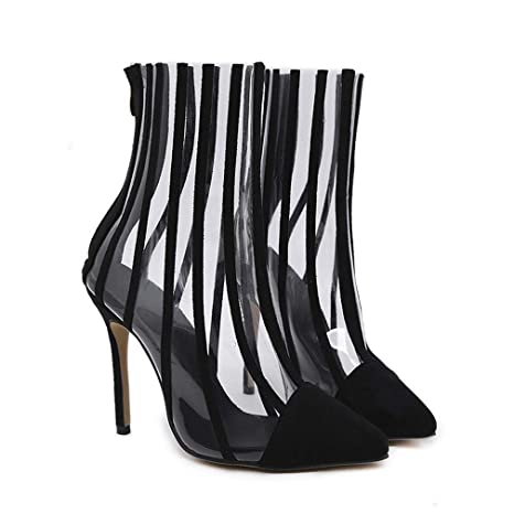 cd671e0493f1 lkykcn PVC Transparent Boots Sandals Pointed Toe Thin High Heels Shoes  Clear Women Boots Striped Boots