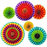 "Adorox Set of 12 Vibrant Bright Colors Hanging Paper Fans Rosettes Party Decoration for Holidays 8"" 12"" 16"" Various Sizes Fiesta (2 pack) …"