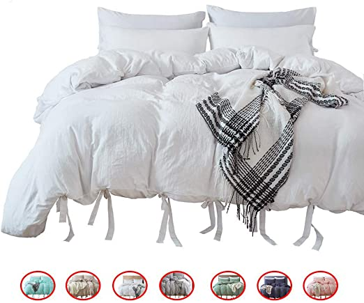 Modern Bowknot Style Bow Tie Strap Design White Duvet Cover Bedding Set Twin Silky Soft Easy Care Bed Linen MUKKA HOME Gift for Kids MUKKA 2 Pieces Washed Cotton Technical Wrinkle Looking
