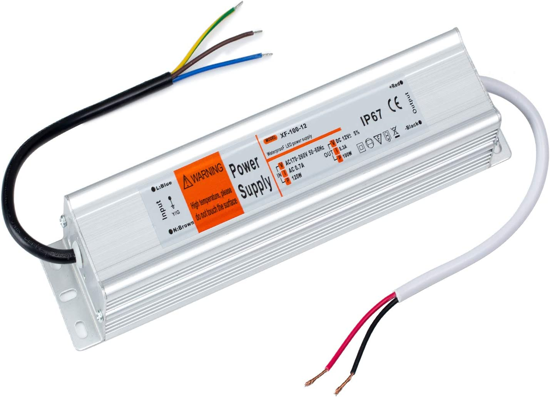 Yafido Transformador de Potencia IP67 DC12V 8.33A 100W 220V Impermeablepara la Tira de LED Fuente de Alimentación