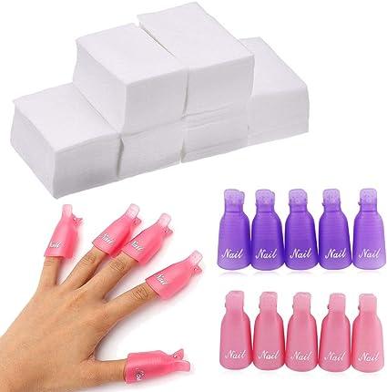20 piezas de pinzas para quitar uñas con 500 almohadillas de algodón para uñas anchas, de plástico, para quitar uñas y dedos (rosa y morado): Amazon.es: Belleza