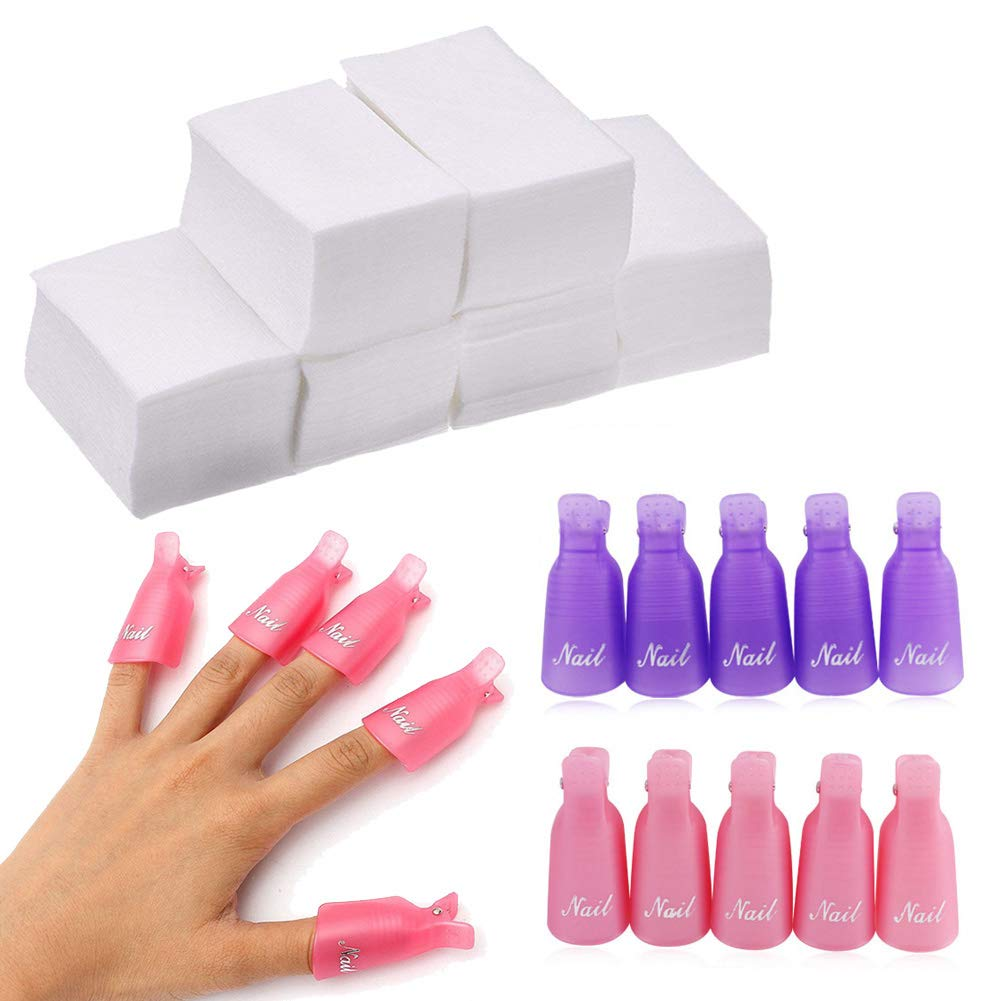 20 Pieces Plastic Nail Art Soak Off Cap Clips and 1000 Pieces Nail Polish Remover Cotton Pads, Finger Acrylic UV Gel Polish Remover Wrap Nail Tool - Pink, Purple