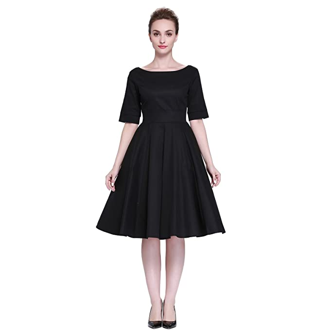 What Did Women Wear in the 1950s? Heroecol Womens Vintage 1950s Dresses Oblong Neck Short Sleeve 50s 60s Style Retro Swing Cotton Dress $26.99 AT vintagedancer.com