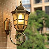 TOYM US Outdoor Terrace Modern European-style American Garden Chinese-style Retro Industrial Bar Waterproof Outdoor Corridor Door Wall Light ( Color : Bronze gold )