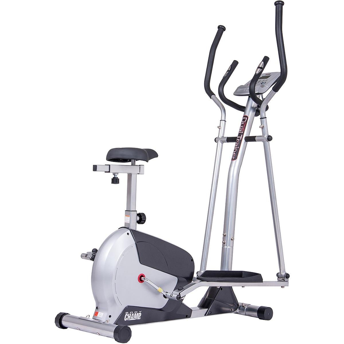 Body Champ 2 in 1 Elliptical Workout and Upright Exercise Bike with Heart Rate, Computer Resistance Exercise Machine / Cardio Home Office Workout Machine