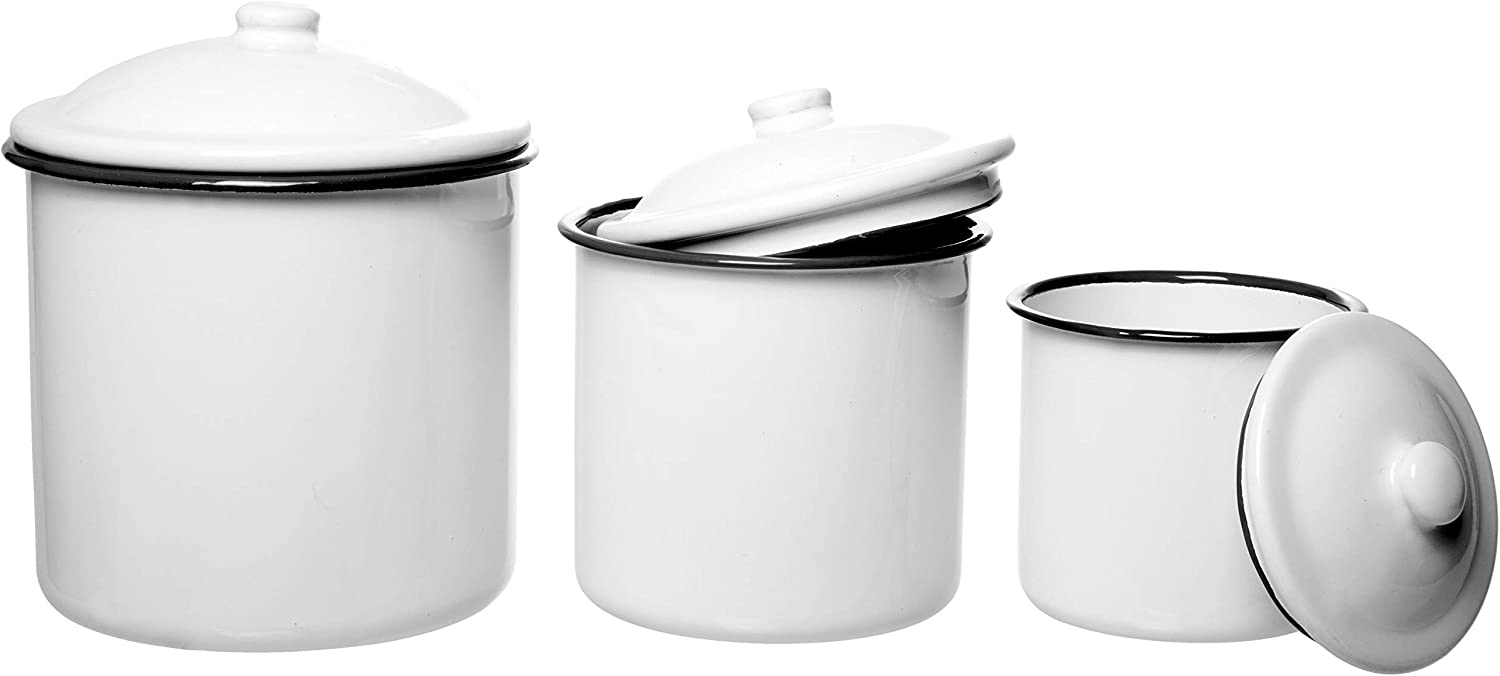 White Enamelware Mug Pots with Black Rim & Lid - Set of 3 Nesting Cups, Perfect for Picnic, Camping, Outdoor Activity