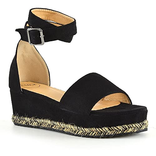 4db0d2258b62 New Womens Wedge Heel Sandals Espadrille Ladies Ankle Strap Flat Platform  Shoes