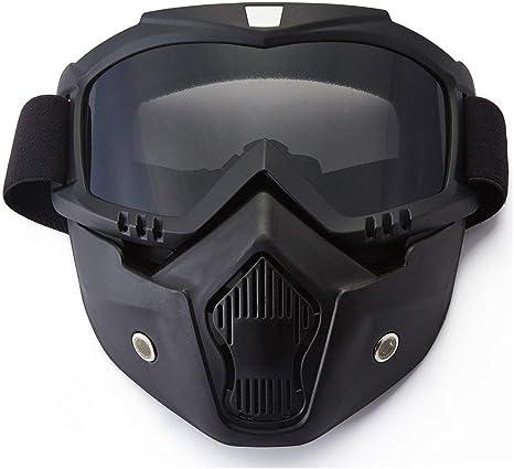 Montatura Nera, Lenti Grigie YIQI Maschera per Occhiali da Moto con Maschera Rimovibile Occhiali Rimovibili a Prova di Nebbia Caldi Filtro per la Bocca Cinturino Antiscivolo Regolabile