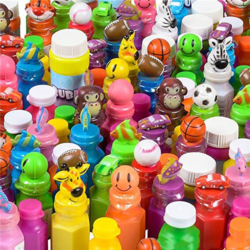 Bubble Assorted - Kicko Assorted Bubble Bottles with Tops - 50 Pieces Blob Holders Set - Baby Bath Time Shower, Indoor and Outdoor Activities, Kiddie and Adult Event Accessories, Loot Bags, Prizes and Novelty Toys