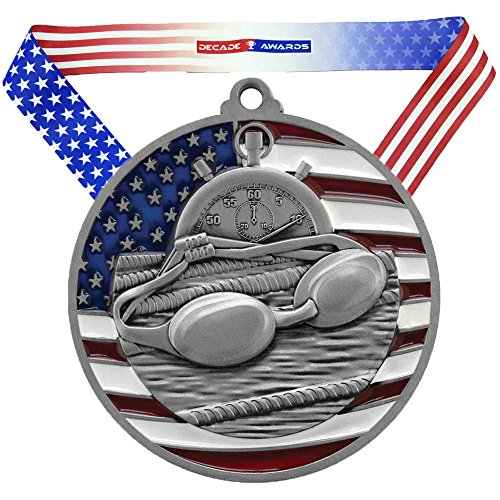 (Decade Awards Swimming Patriotic Medal - Silver | Red, White, Blue Swim Meet Award | Includes Stars and Stripes American Flag Neck Ribbon | 2.75 Inch Wide )