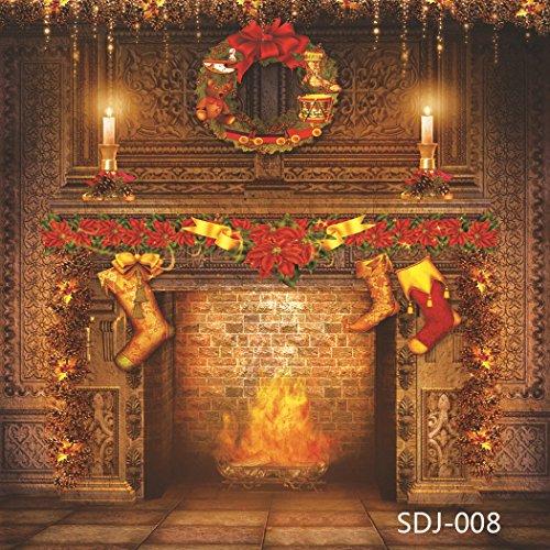8x8ft Christmas Fireplace & Xmas Stocking Pictorial Cloth Vinyl Photography Backdrop Customized Photo Backdrops Background Studio Props SDJ-008