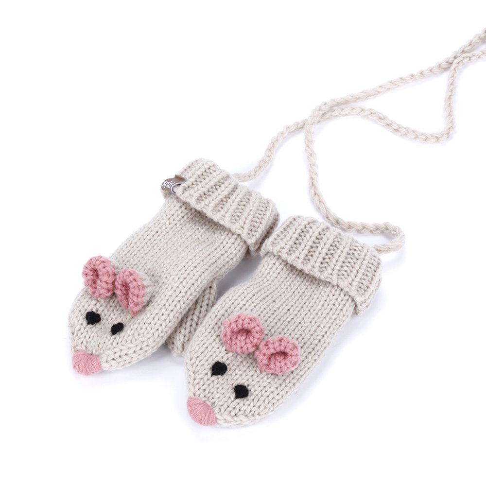 Mouse Mittens with cord (fleece lining) - Beige