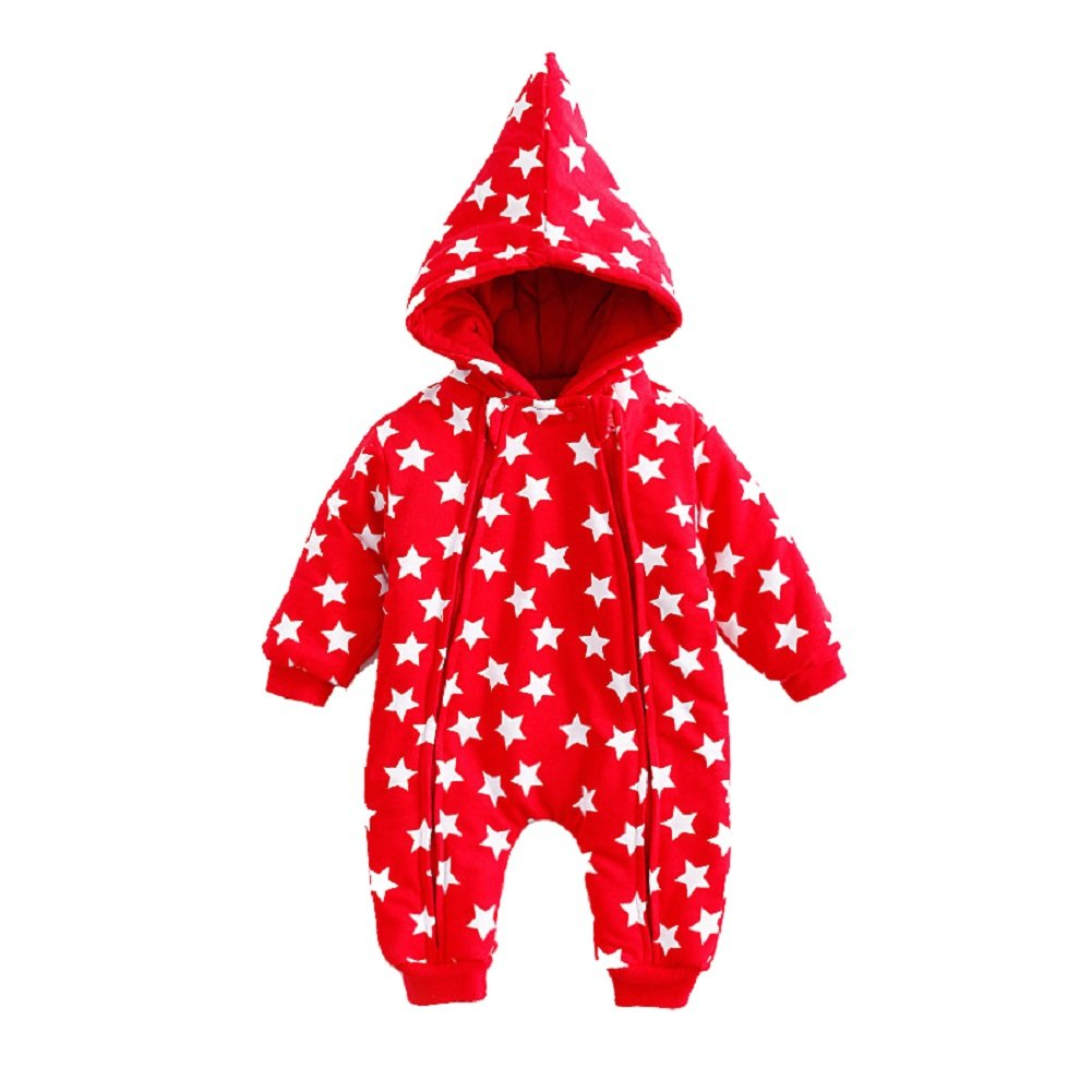 Unisex Baby Christmas Hooded Romper New Year Style Jumpsuit Red Star Printed Snowsuit