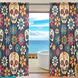 SEULIFE Window Sheer Curtain, Halloween Mexican Sugar Skull Flower Voile Curtain Drapes for Door Kitchen Living Room Bedroom 55x78 inches 2 Panels