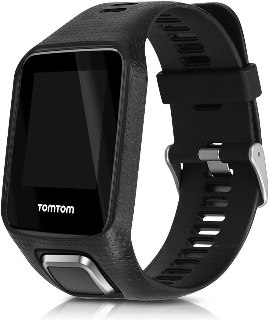 kwmobile Pulsera Compatible con Tomtom Adventurer/Runner 3/Spark 3/Golfer 2 - Brazalete de Silicona en Negro sin Fitness Tracker